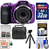 Minolta MN35Z 1080p 35x Zoom Wi-Fi Digital Camera (Purple) 32GB Card + Case + Flex Tripod + Kit