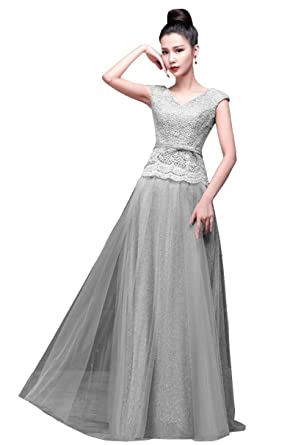 1445a7bab6c Beauty-Emily Maxi Long Bow Double V Neck A-Line Cap Sleeve Lace Cocktail