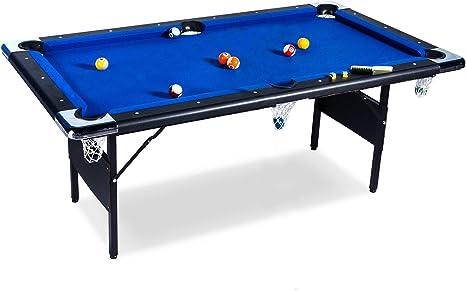 Buckshot - Mesa de billar (193 x 109 x 81 cm, plegable, con accesorios), color azul y negro: Amazon.es: Deportes y aire libre