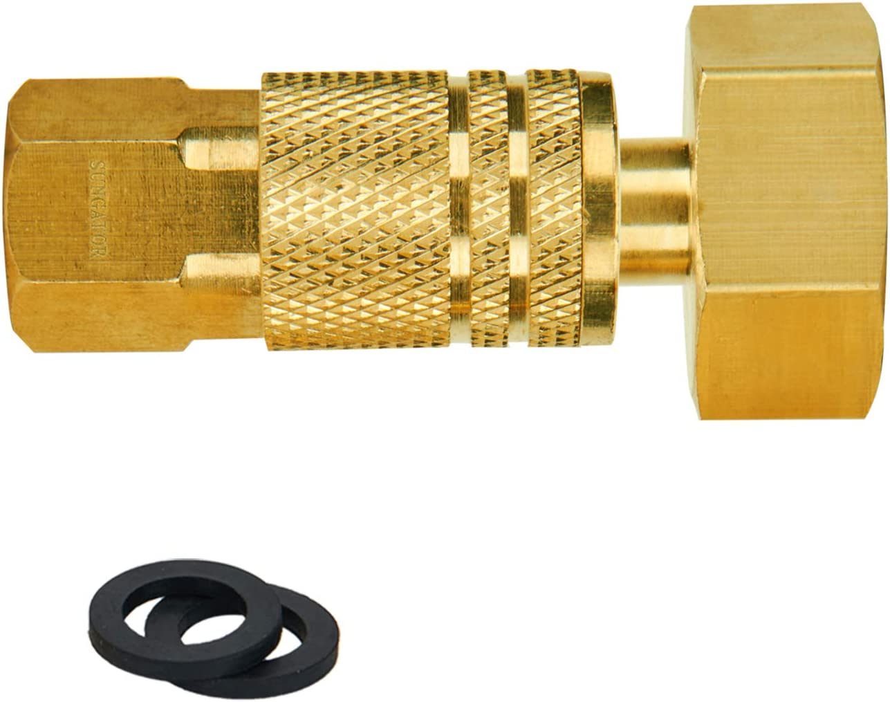 """SUNGATOR Winterize Sprinkler Systems Plug, 2-Pack Water Blow Out Plug Fitting with 6-Ball Air Quick Connector, 3/4"""" GHT Female Adapter for Winterize Water Lines, Garden Hose, Irrigation Systems"""