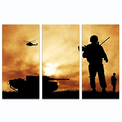 Amazon.com: Live Art Decor - 3 Panel Wall Art Soldiers at War ...