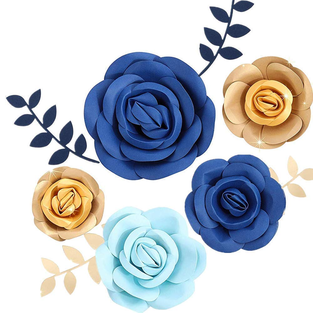 Fonder Mols 3D Paper Flowers Decorations (Blue Gold, Set of 5) for Boy Birthday Party, Baby Boy Shower, Nursery Room Decor, Photobooth Backdrop(NO DIY)