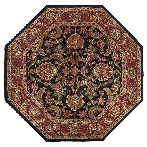 (Surya Ancient Treasures A-108 Classic Hand Tufted 100% Semi-Worsted New Zealand Wool Jet Black 8' Octagon Traditional Area Rug)