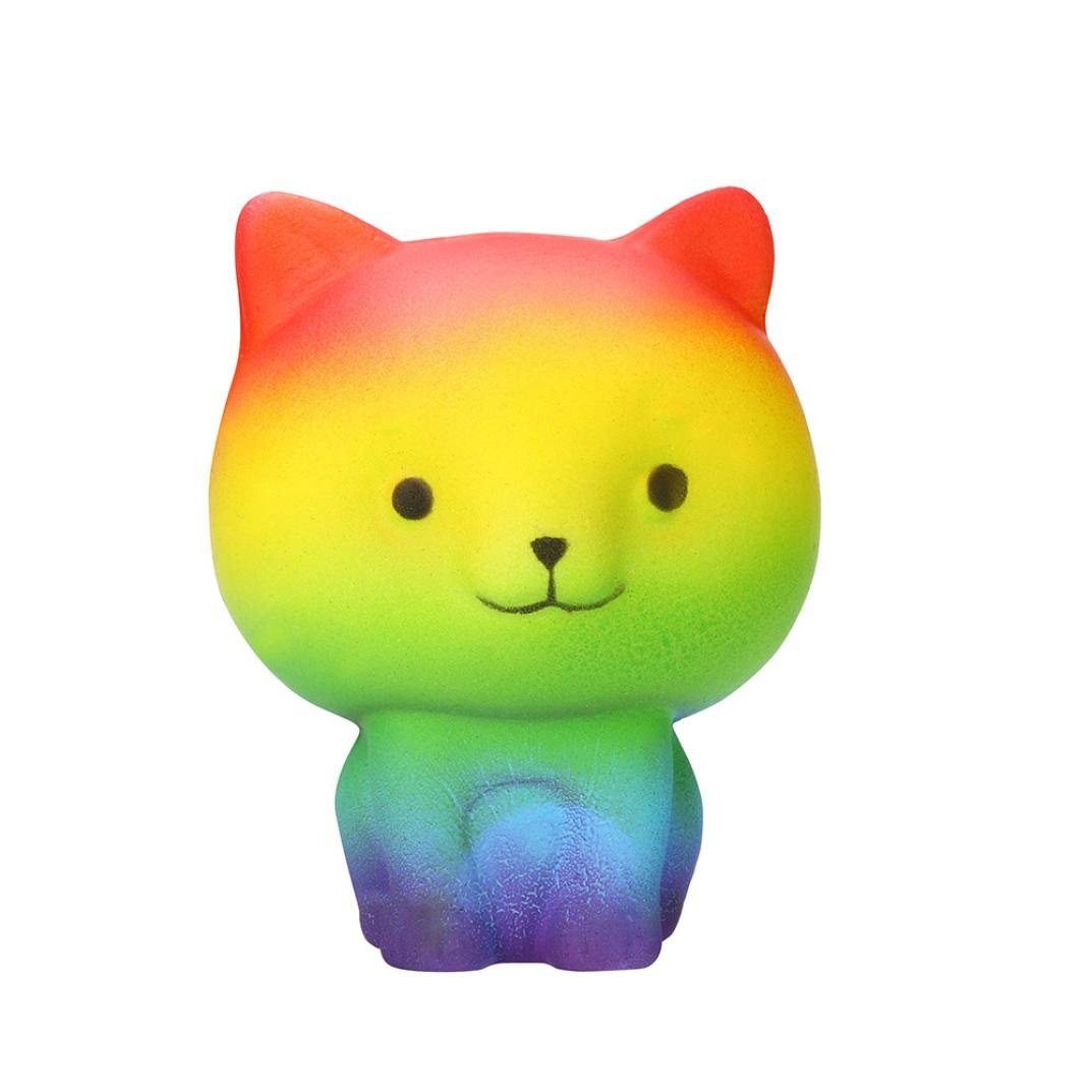 Lavany Squishies Jumbo Toys,Cute Food Squishy Slow Rising Jumbo Squishies Toy Scented Squeeze Toy for Adult Party (Rainbow Cat)