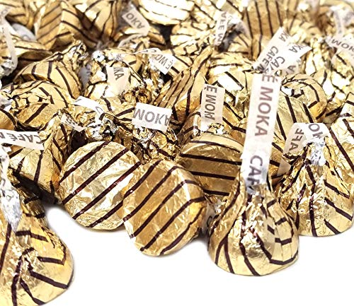 CrazyOutlet Pack - Hershey's Kisses Espresso, Milk Chocolate Coffee Mocha Flavor Candy, Gold Brown Striped Foil, 2 lbs ()