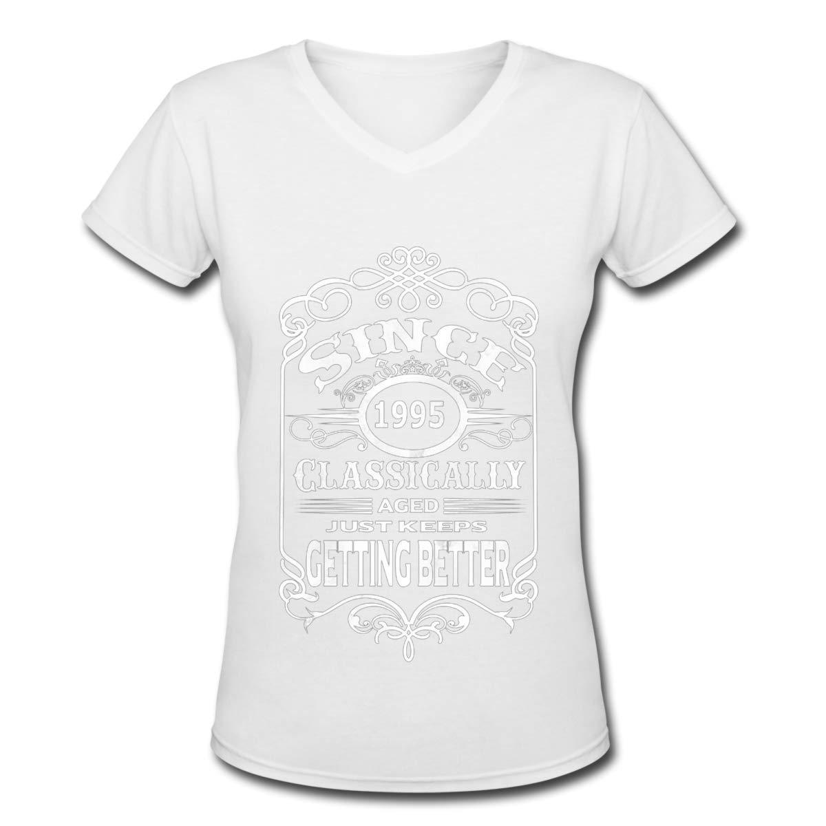 YONG-SHOP 1995 Birthday Gift Womens T Shirt Casual Cotton Short Sleeve V-Neck Graphic T-Shirt Tops Tees