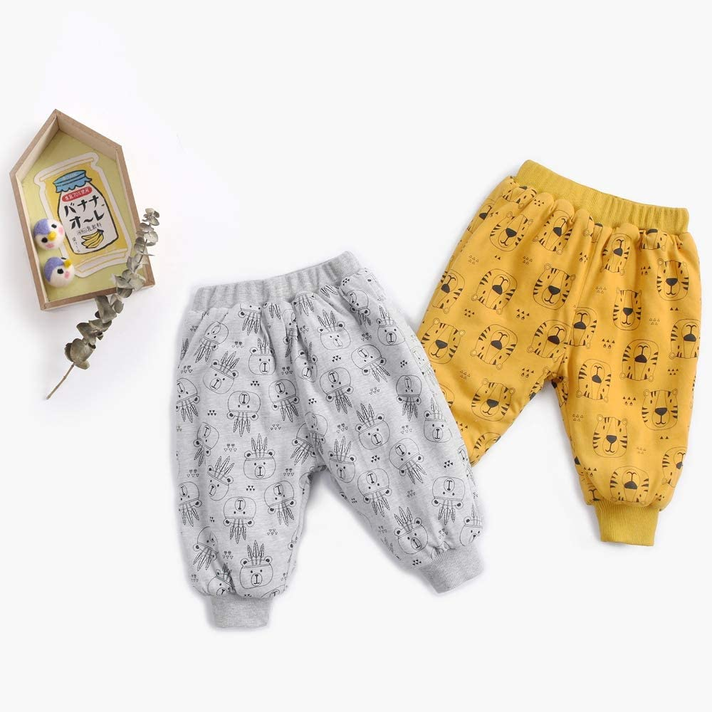Sanlutoz Unisex Baby Cartoon Animal Pants Warm Thicken Printing Winter Trousers for Kids