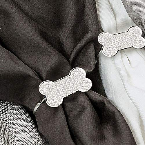 (MW Decor: Napkin Rings Set of 12 for Dinner Party - Weddings - Holidays - Family Gatherings - Silver Sparkle with a Clear Rhinestone Decoration (Silver Dogbone))