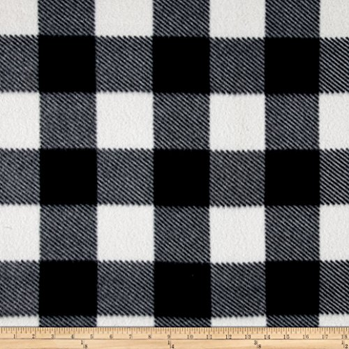 Newcastle Fabrics Fleece Buffalo Plaid Print Black/White Yard