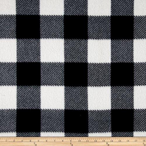 Fleece Buffalo Plaid Print Black/White Fabric By The Yard (Plaid Fleece White)