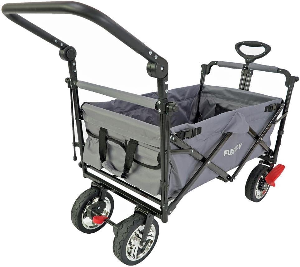 poign/ée de pouss/ée et Frein de Blocage Avant et arri/ère Fuxtec Chariot de Transport Pliable FX-CT700 Gris avec Toit Anti-UV Convient aux Enfants Loriginal.