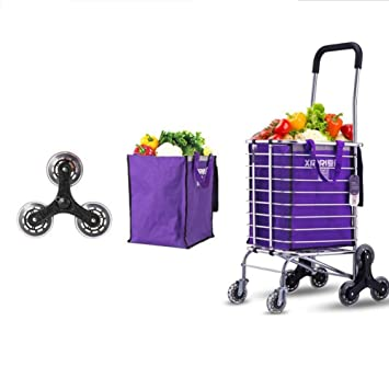 ZWW Upgraded ligero carros de supermercado de compras ligero carrito de la compra, plegable, plegable, empuje de moda para subir y bajar escaleras 8 rueda, ...