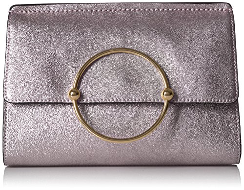 Metallic Leather Flap Clutch (MILLY Metallic Leather Flap Clutch)