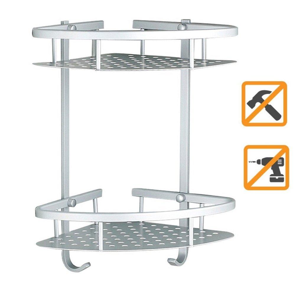 Sendida Bathroom Corner Shelf Rack - No Drilling, DIY, Super Strong Glue Adhering, SD173 Heavy Duty and Rustproof Aluminum 2 tiers Shower Storage Corner Shelves with Hooks