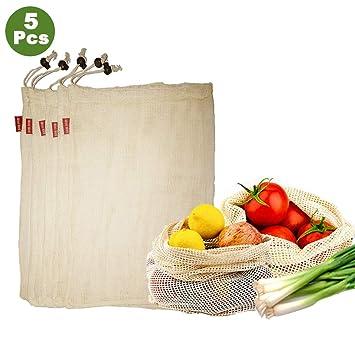 Woo Well Bolsas de Vegetales Reutilizables de algodón, Bolsas de Frutas y Vegetales, Bolsas de Malla Transpirables, Hermosas Bolsas de algodón ...