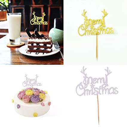 Christmas Cake Toppers.Amazon Com Merry Christmas Cake Toppers Picks Glitter Cake
