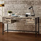 "Coaster 801235 60"" Writing Desk with 4 Drawers Black Metal Frame Front Cam Bolt and Back Screw Drawer Construction in Salvaged Cabin"