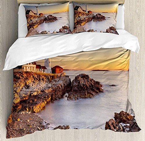 4 Piece King Size Duvet Cover Set,United States Cape Maine River Portland Lighthouse Sunrise USA,Bedding Set Luxury Bedspread(Flat Sheet Quilt and 2 Pillow Cases for Kids/Adults/Teens/Childrens