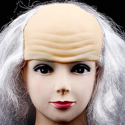 XIAXIACP Funcionamiento De La Mascarada De Halloween Vestir Peluca Calva Divertido Cosplay Peluca Blanca Negro Viejo