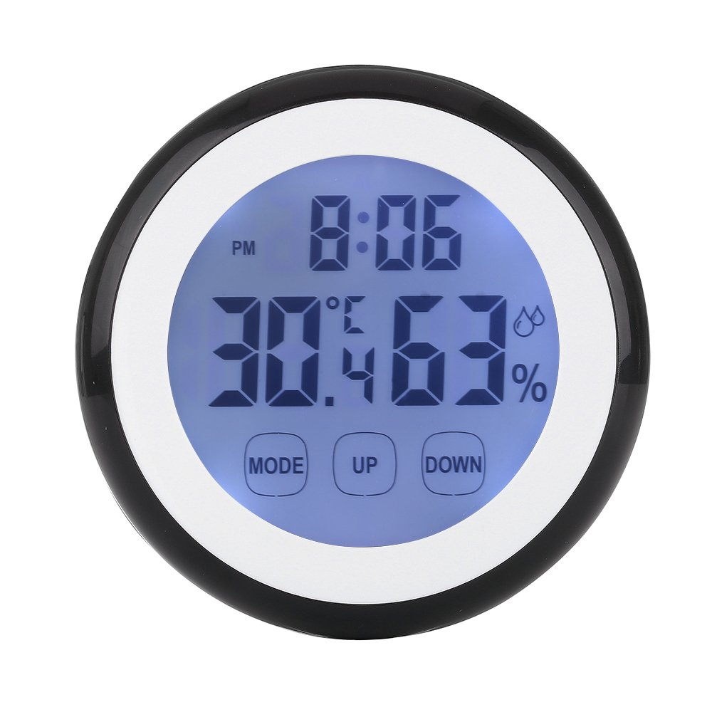 LAFEINA Digital Thermometer Hygrometer Clock, Temperature Humidity Monitor Alarm Clock Touch Screen with Backlight Magnetic Back for Home Office Baby Room (Black)