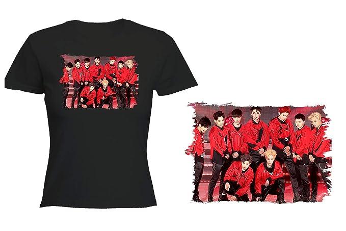 MERCHANDMANIA Camiseta Negra Mujer Exo XOXO KO KO Bop Grupo Tshirt: Amazon.es: Ropa y accesorios