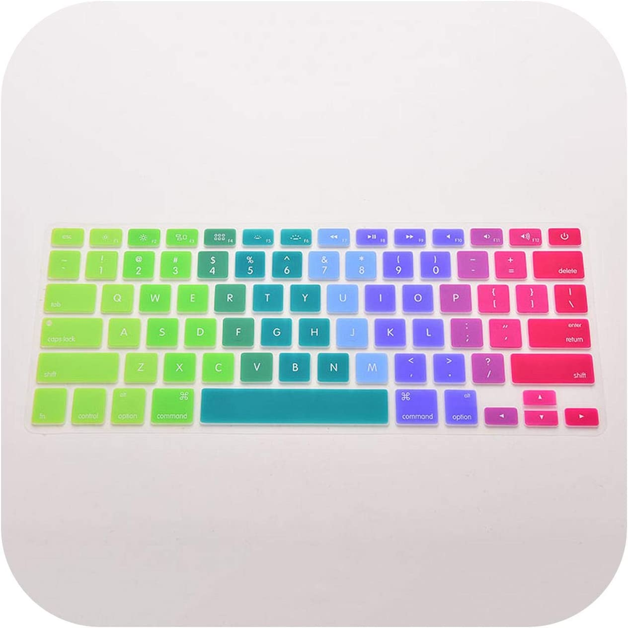 Silicone Flower Decal Rainbow Keyboard Cover Keypad Skin Protector for Mac MacBook 13 15 17 Thin Keyboard Cover Skins-Multi