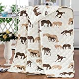 DECORAPORT Dark brown Cartoon Horse Quilt Set with One Sham for Children, Twin (DK-WX020)