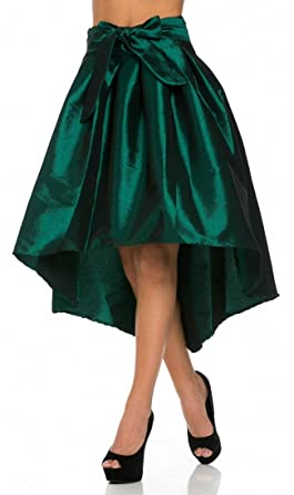 Hi-Lo tafetán lazo falda en Negro Blanco y Rosa (Plus tamaños ...