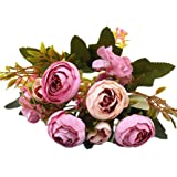 Saingace 1 Bouquet with 5 Forks Flower Heads Artificial Silk Flowers Bouquet for for Wedding Party Festival Floral Arrangements and Home Decoration (Purple)