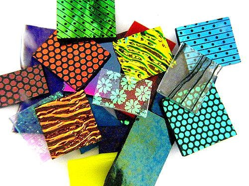 Dicroic Glass (Devardi Glass COE 90 Dichroic, Iridized & Textured 4 oz Glass Sheet Mix - 1/4 lb)