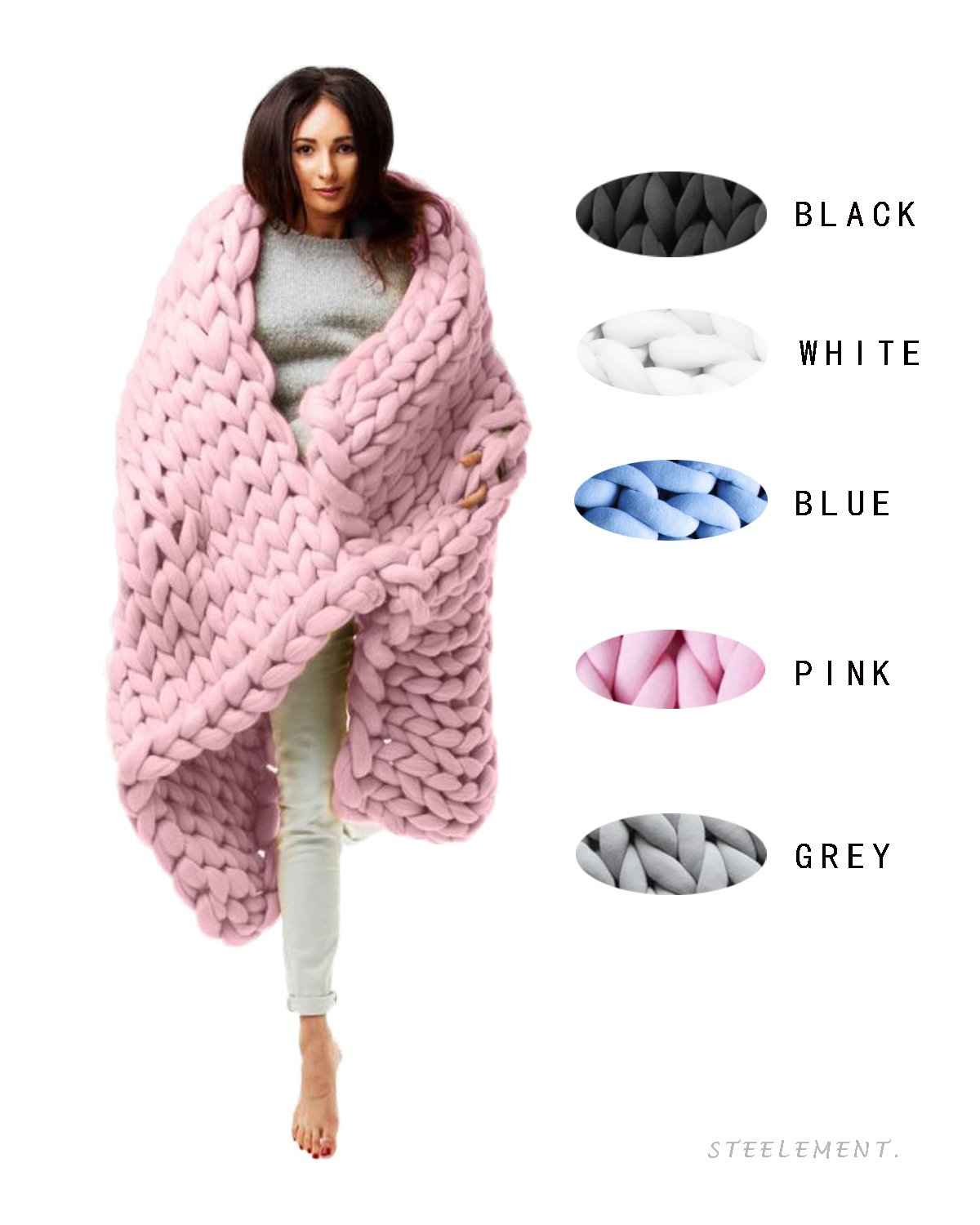 Bulky Arm Knit Chunky Blanket 100% Cotton Tube Throw Soft Thick Knitting Handmade Gift Sofa Bed (Small(50CM50CM=20''20''), Pink)