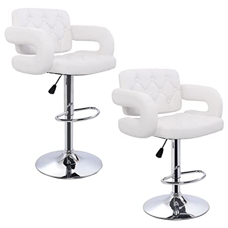 Costway Adjustable Bar Stool with Armrests PU Leather Pub Chair, Set of 2 White