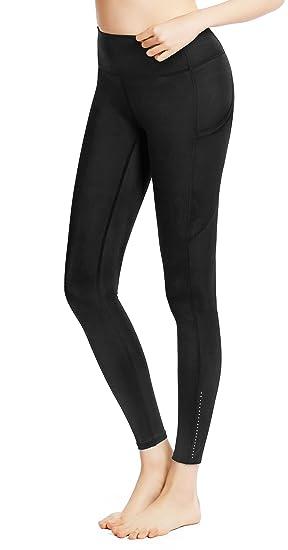Legging Capri Long Femme avec Poches Pantalon de Sport Fitness Respirant  Taille Haute pour Yoga  1867e44095c