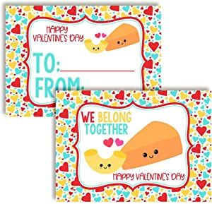 We Belong Together Like Macaroni & Cheese Food Themed Valentine's Day Cards for Kids to give to Friends & Classmates, Thirty (30) 3.5
