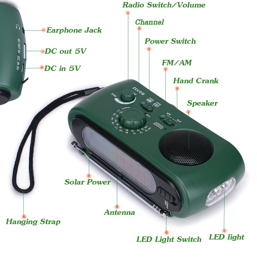 Frostory Solar Dynamo Hand Crank LED Flashlight FM/AM Radio with Emergency Power Bank Survival Kit 332FS (Green) by Frostory (Image #2)