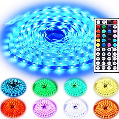 Rxment RGB LED Strip Lights with Remote - 10M 32.8 Ft 5050 RGB 300LEDs Full Kit,LED Tape Light Blue LED Light Strip, LED Lights Strip, LED Night Light, LED Christmas Lights, LED Rope Lights