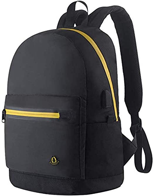 Ladies Plain Canvas Shoulder Backpack Rucksack School College Waterproof Bag