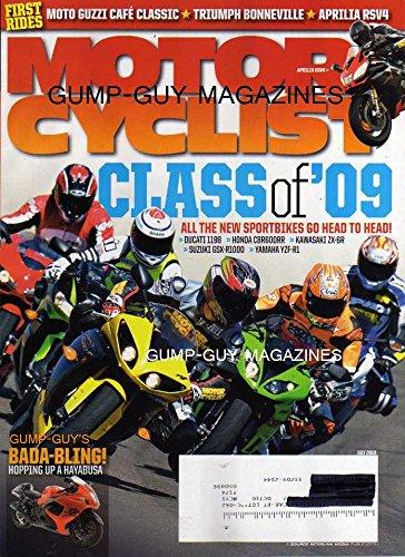 Motorcyclist Magazine July 2009 DUCATI 1198 Honda CBR600RR KAWASAKI ZX-6R Suzuki GSX R1000 Yamaha YZF-R1 MOTO GUZZI CAFE CLASSIC Triumph Bonneville APRILIA RSV4 Hopping Up Hayabusa