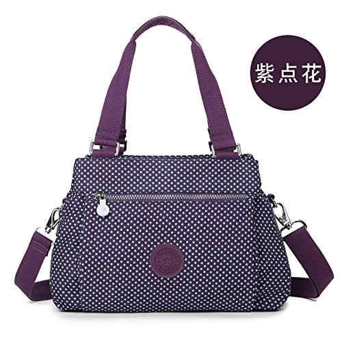 Zazero Canvas Shoulder Bag For Middle-aged Woman With Printed Nylon, Baizishai Purple Red