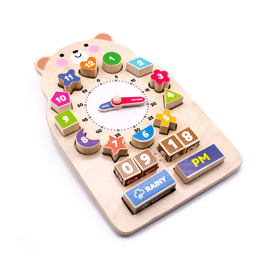 MQ Wooden Shape Sorting Clock Puzzle Set Teaching Clocks Educational Puzzle Toy for Kids 3+ by MQ