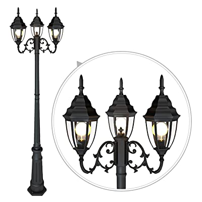 Classic Black Light Pole with Clear Glass Panel Outdoor Lamp Post Light 3-Head