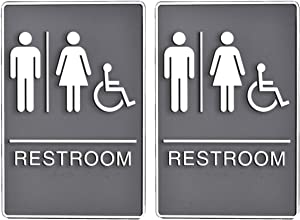 "Bebarley Self-Stick ADA Braille Unisex Restroom Signs with Double Sided 3M Tape for Office or Business Bathroom and Toilet Door or Wall Decor 9""X6"" (Double Gray)"