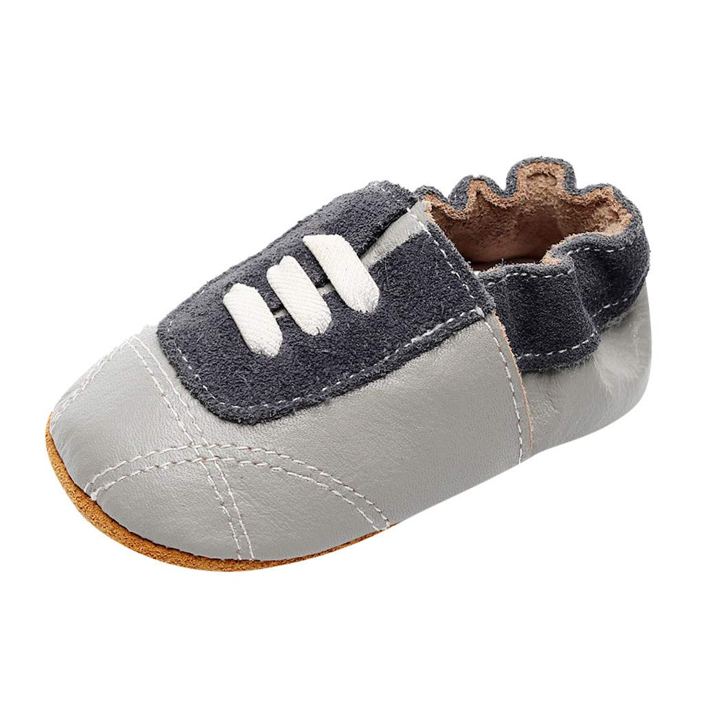 NUWFOR Infant Baby Girl Beach Leather Rome Straps Sole Summer Sandal First Walker Shoes(Gray,0-6Months)