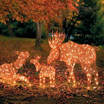 outdoor lighted deer moose family pre lit yard decoration lawn ornament 3 piece set - Outdoor Moose Christmas Decorations