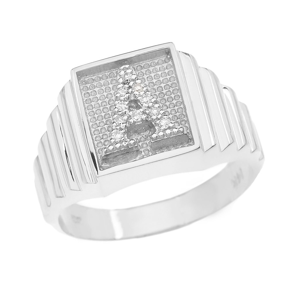 Men's 925 Sterling Silver Layered Band Square Face Diamond Initial Letter A Ring (Size 10.75)