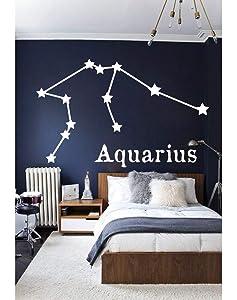 Aquarius Wall Decal Zodiac Constellation Cancer Taurus Virgo Leo Pisces Aries Decal Gemini Decal Aquarius Wall Art Vinyl Stickers 35x55 inches