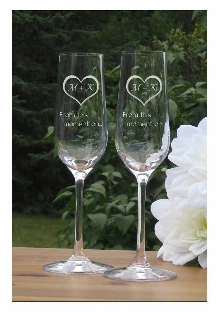 Personalized Heart with Initials Champagne Flutes - Lead Free Crystal 7 oz Wedding Glasses