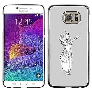 TopCaseStore / la caja del caucho duro de la cubierta de protección de la piel - Princess Sketch White Girl - Samsung Galaxy S6 SM-G920