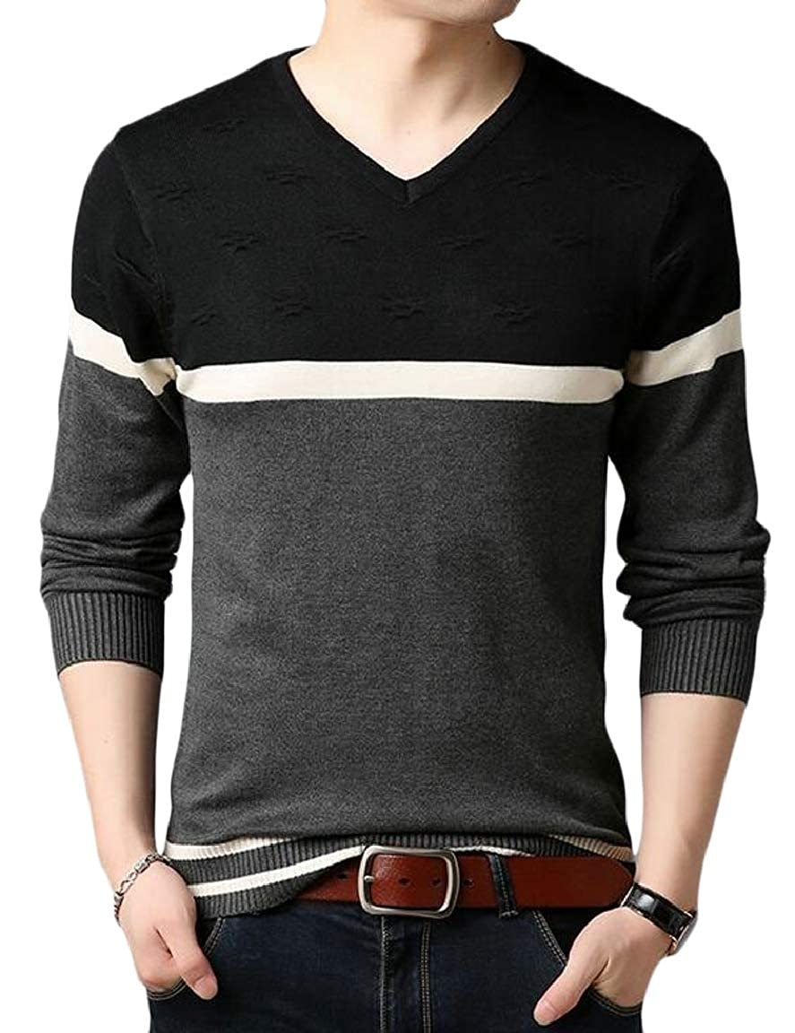 HTOOHTOOH Mens Knitted Sweater Color Block Long Sleeve V-Neck Pullover Tops