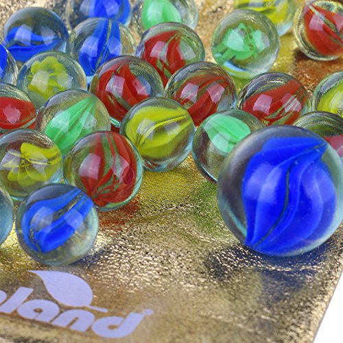 Shooter Large (Mega Assortment of 40 Marbles - Large Pack of 40 Marbles with a Free Bonus Shooter Marble - Comes in a Velour Flocked Bag with Double Cord Drawstring - Replacement Marbles for Marble Run Games)